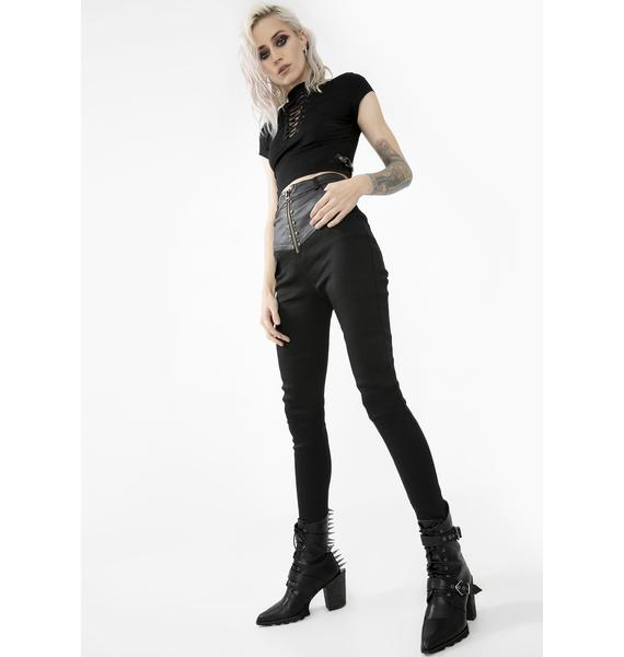 Punk Rave Vegan Leather Panel Skinny Pants