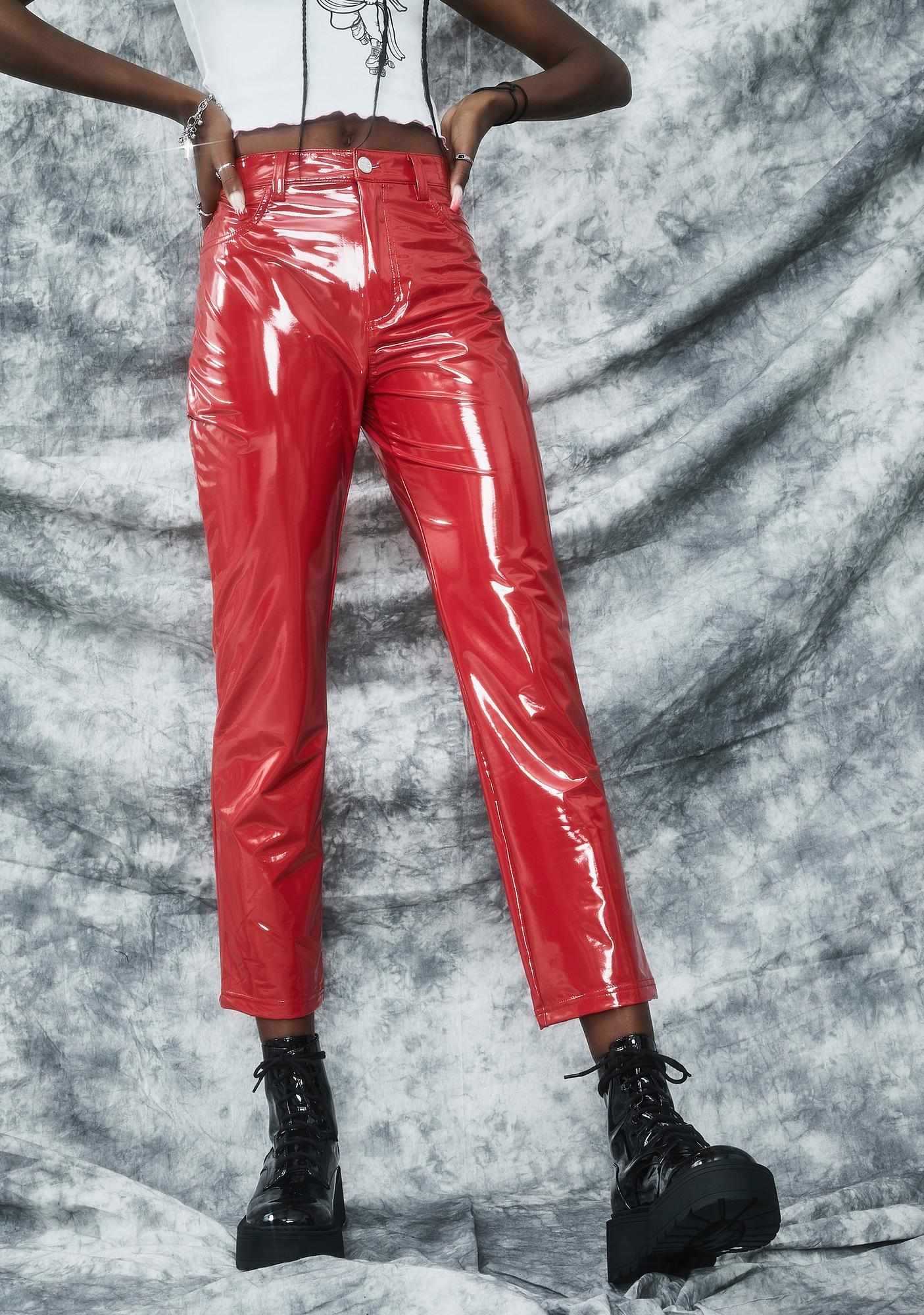 dELiA*s by Dolls Kill Date With The Devil Vinyl Pants