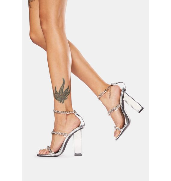 Public Desire Silver Statements Chain Strap Acrylic Heels