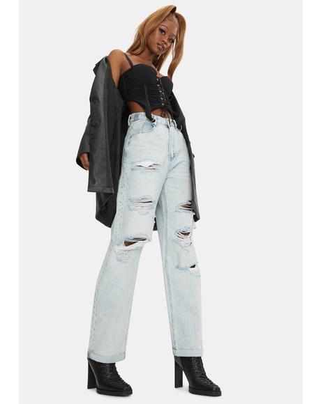 Stone Raider Super Trash Hi And Loose Distressed Denim Jeans