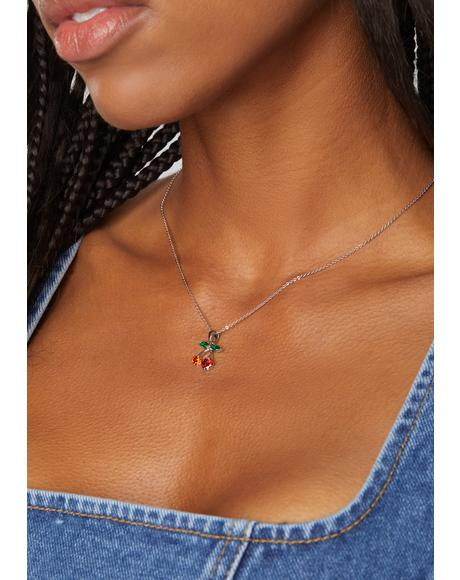Sweet Snack Cherry Charm Necklace
