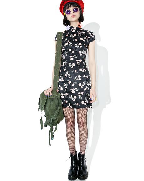 Vintage Black Floral Satin Dress