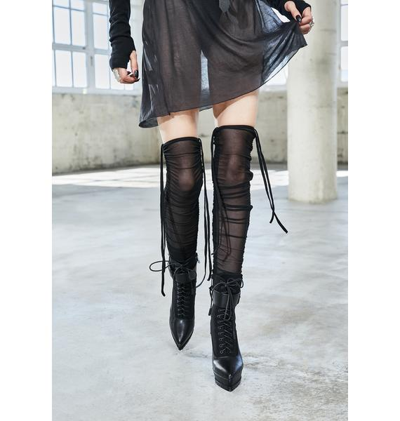 DARKER WAVS Bassline Mesh Thigh High Stockings