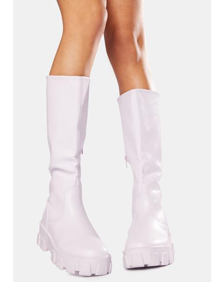 Lilac Karma Chunky Sole Knee High Boots