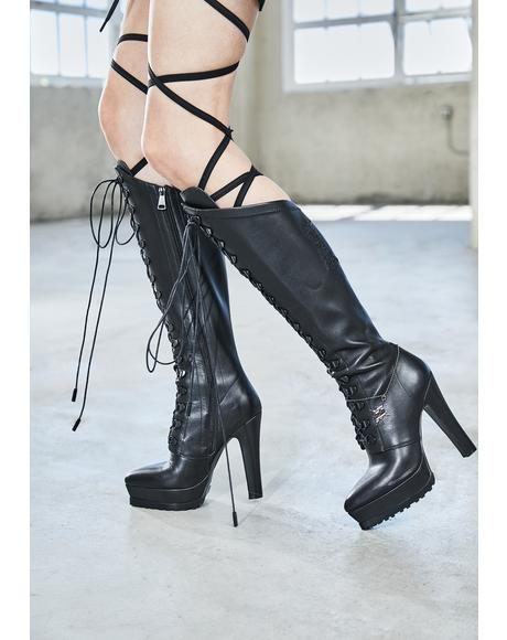 Bassline Leather Knee High Boots