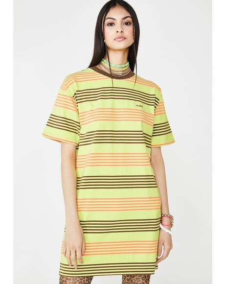 Green Striped Short Sleeve Tee Dress