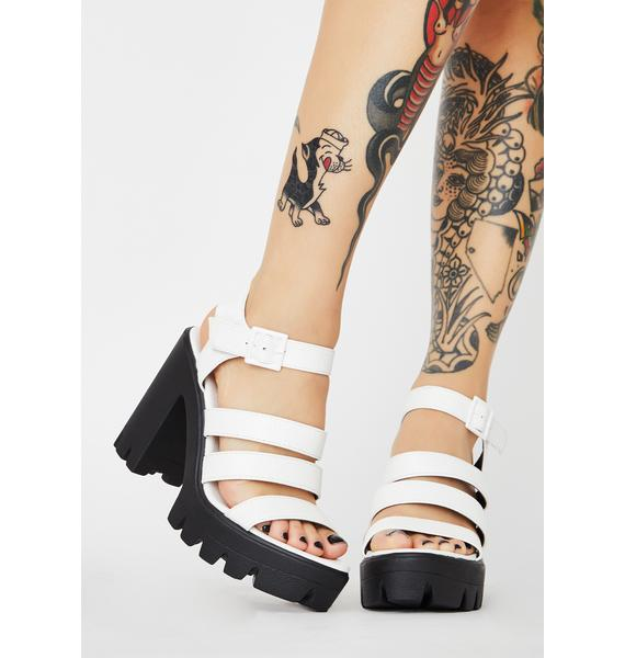 Frosted Catty Chic Strappy Heels