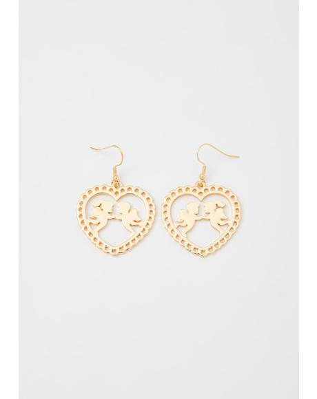 Gilded Heavens Above Cherub Earrings