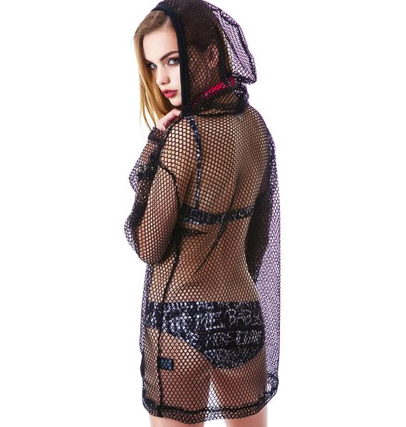 24HRS Fishnet Oversized Pullover Hoodie