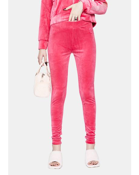 Party Pink Luxe Velour Leggings