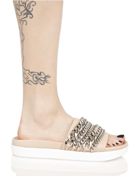 Slide Sandal With Chains