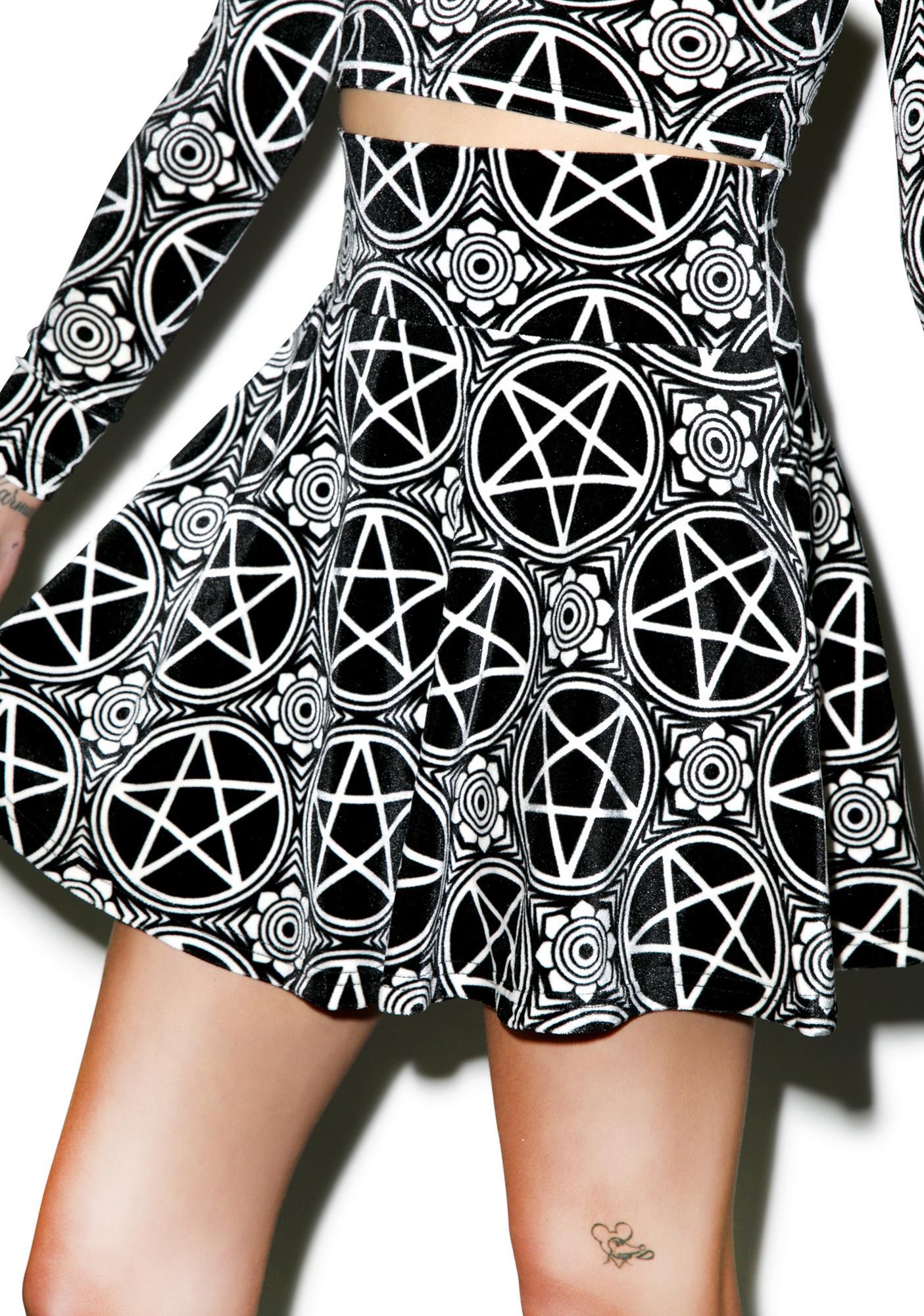 Killstar Pentagram Velvet Skater Skirt