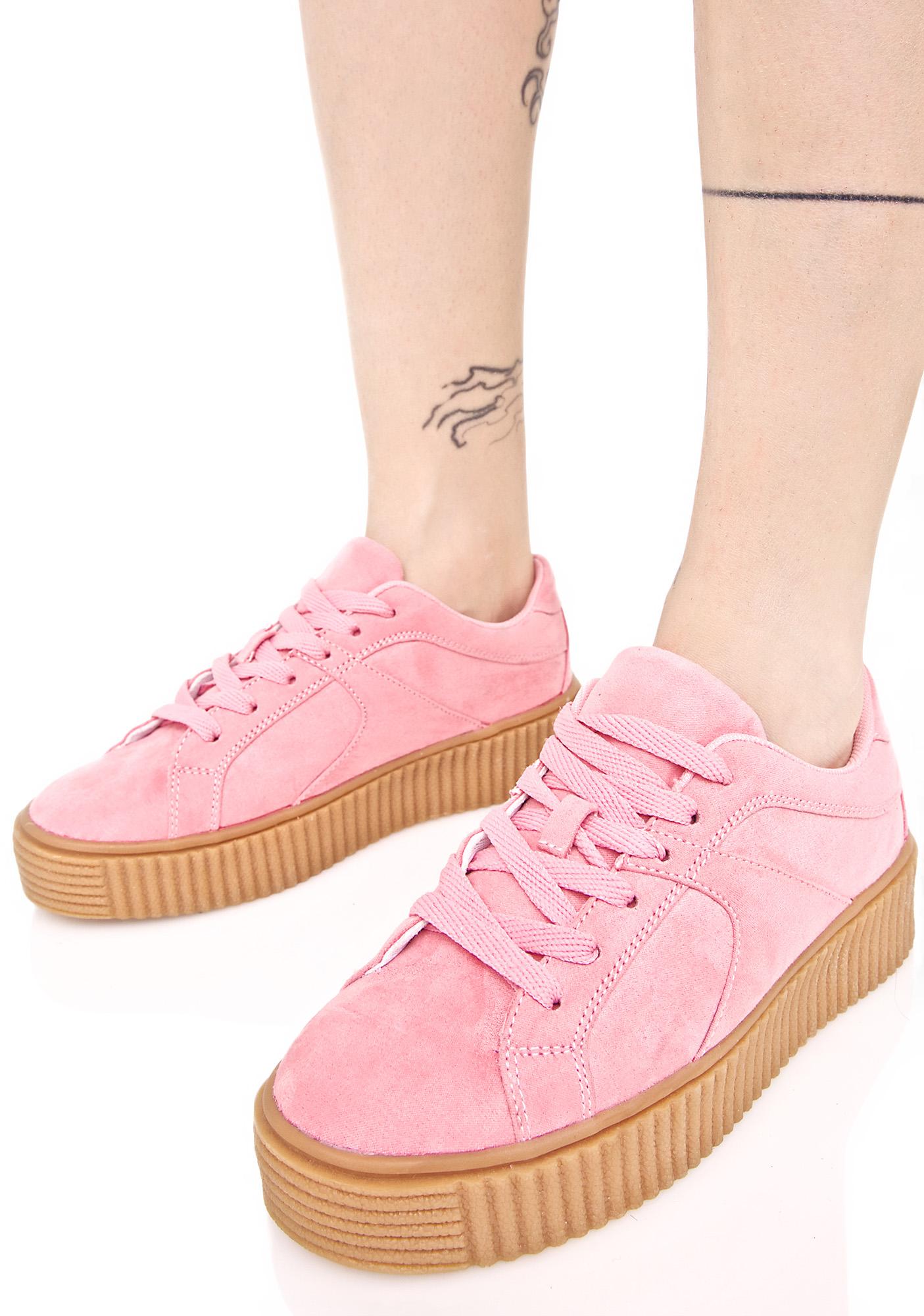 Pink Vegan Suede Creeper Sneakers