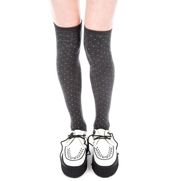 Plush Dot Thigh High Socks