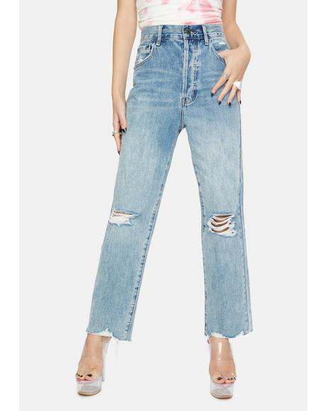 Cassie Super High Rise Straight Crop Denim Jeans