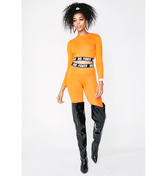 Minga Girl Power Elastic Orange Crop Top