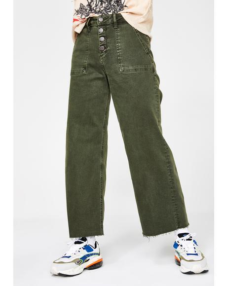 Kush Nori Utility Cropped Wide Leg Jeans