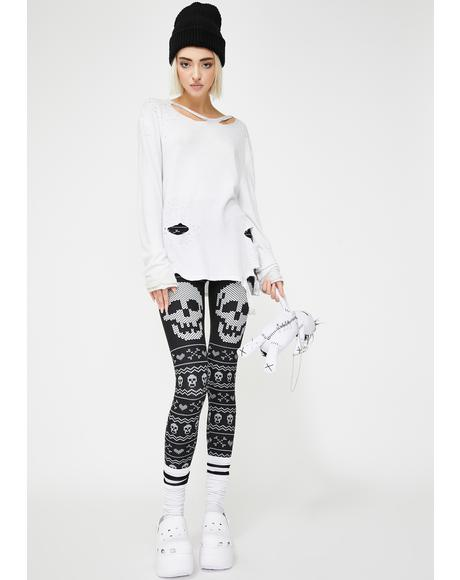 Skull And Bones Christmas Sweater Leggings