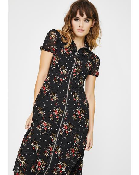 Front Zip Floral Midi Dress