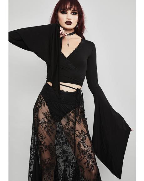 Tragic Prayer Bell Sleeve Top