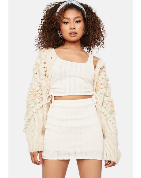 Cream Now At Peace Knit Mini Skirt