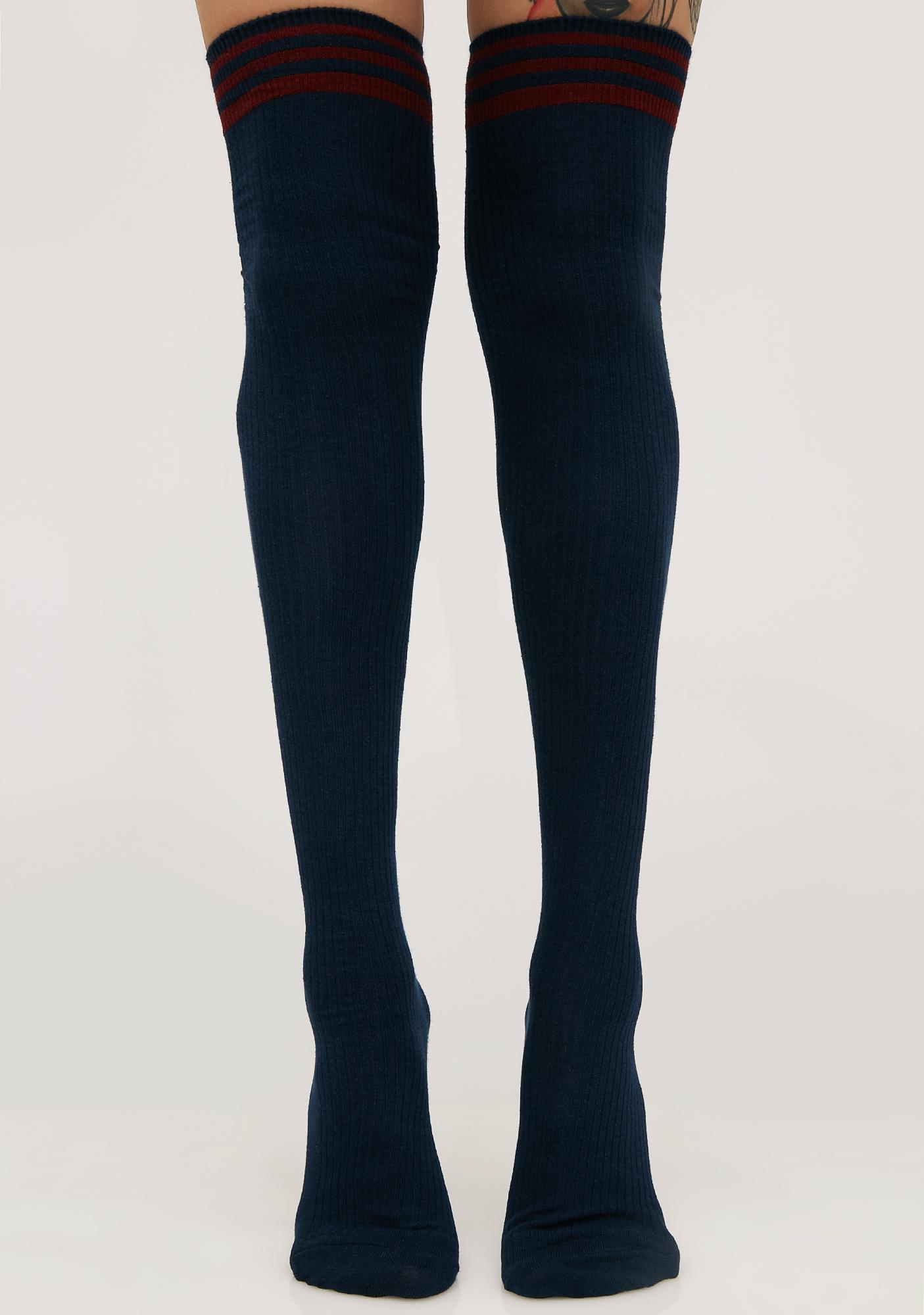 4d128cf04 Sporty Thigh High Navy Socks