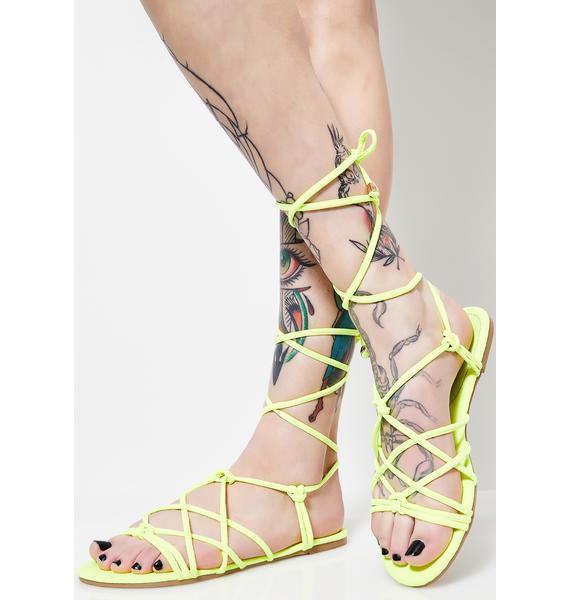 Neon Temptation Lace Up Sandals