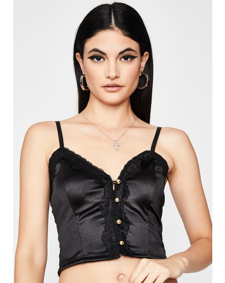 Noir Satin Kisses Lace Cami