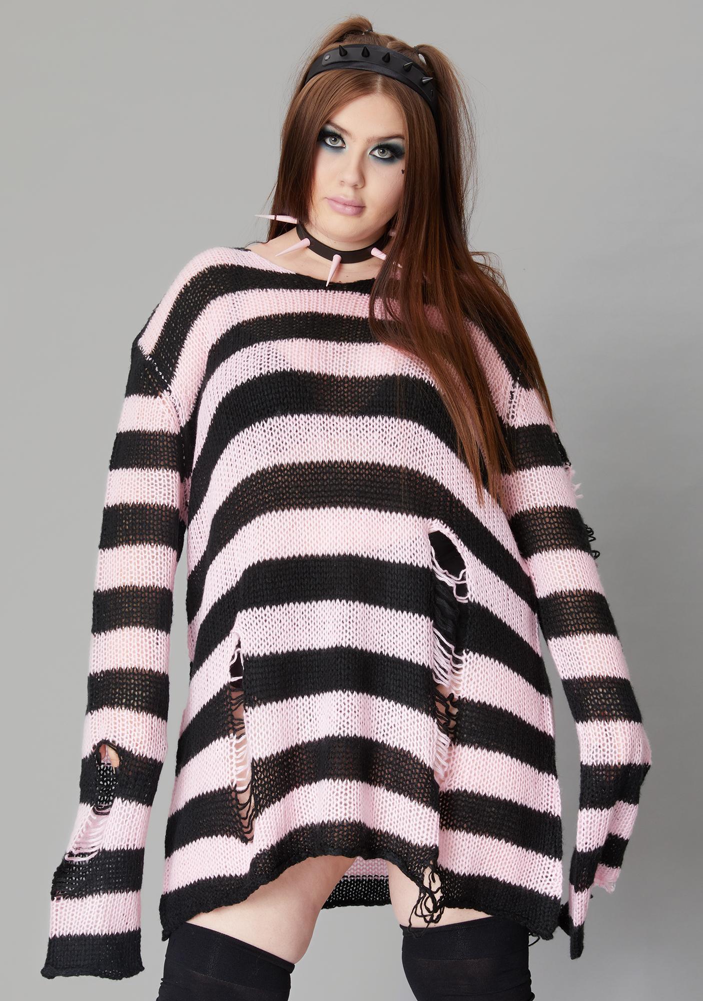 Widow Rose My Eternal Nightmare Distressed Sweater