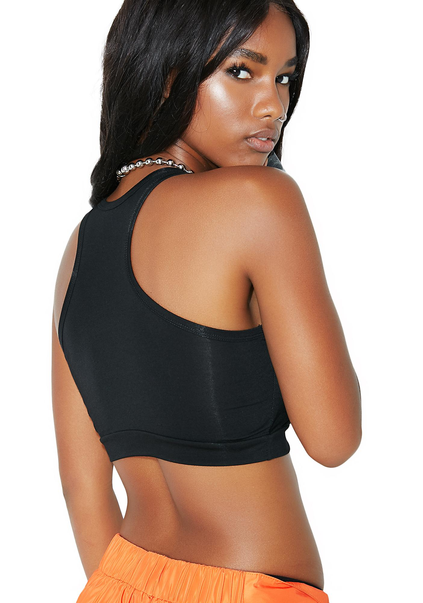 Venomiss NYC Black Crystal Logo Sports Bra