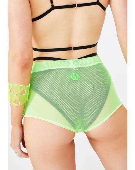 Neon Mesh Hot Pants