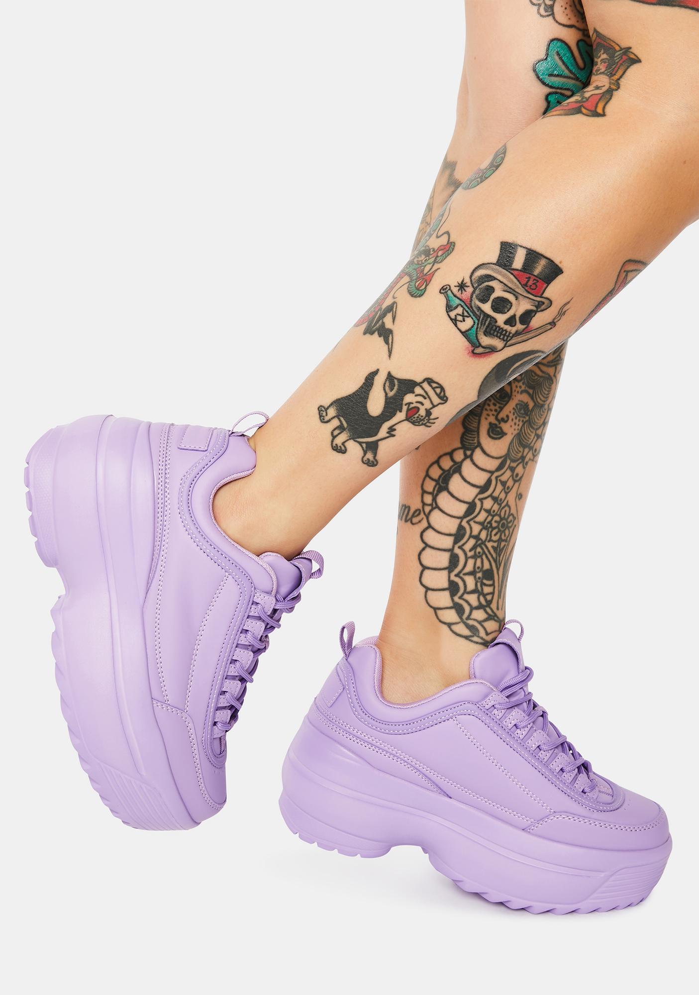 Lavender Rec League Platform Sneakers