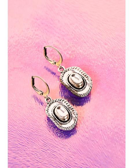 Silver Cowboy Hat Earrings