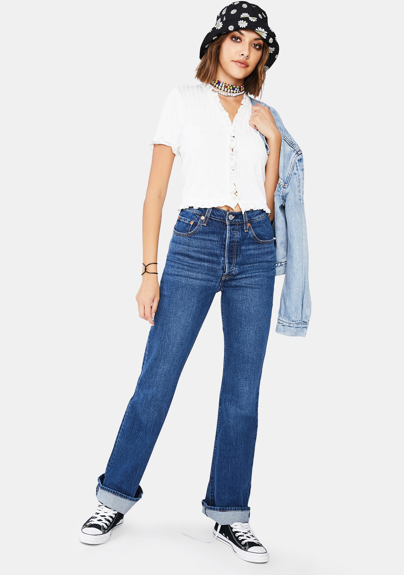 Levis Turn Up Ribcage Boot Cut Jeans