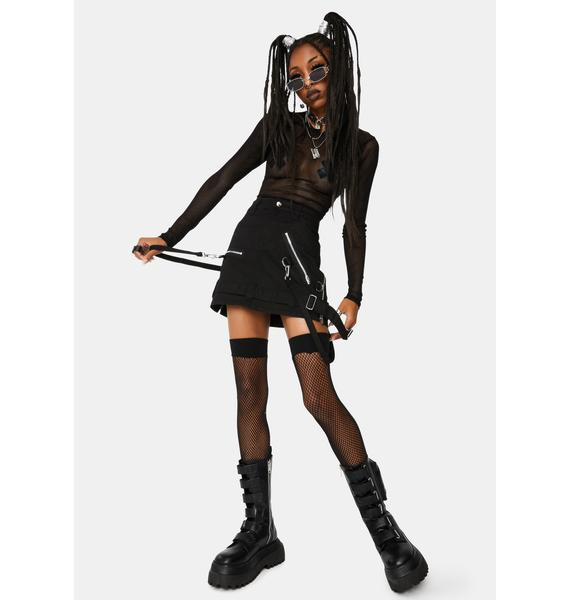 Tripp NYC Black Bondage Strap Mini Skirt
