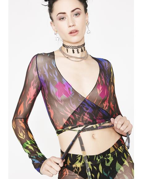 Infernal Blaze Wrap Top