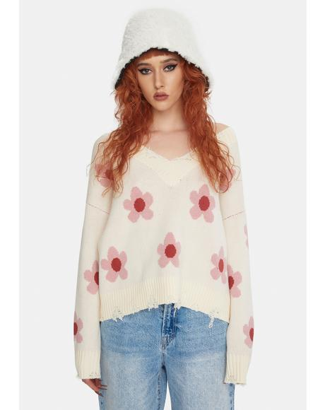 Ivory Floral Distressed Knit Sweater