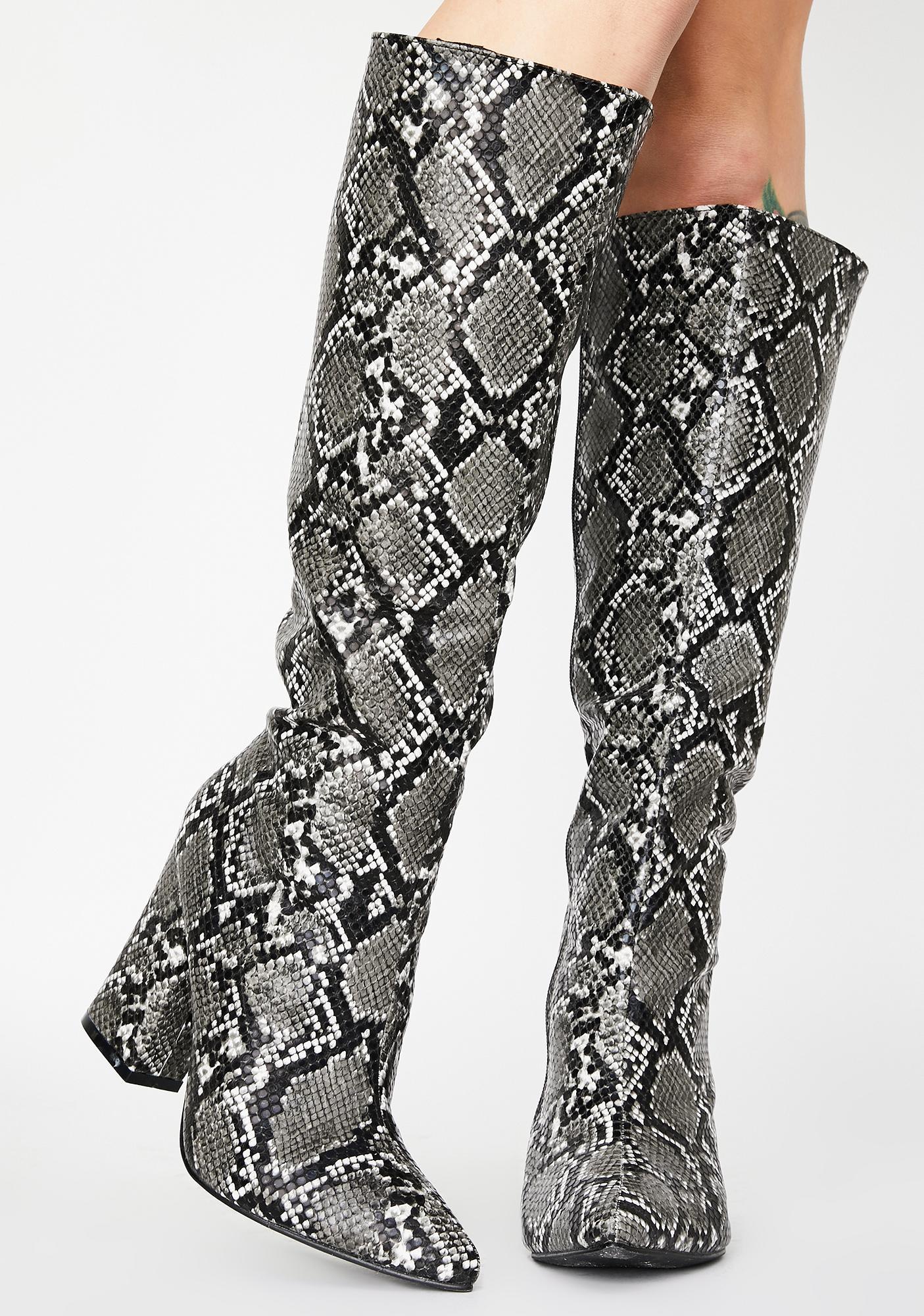 Smokey Cobra Couture Knee High Boots