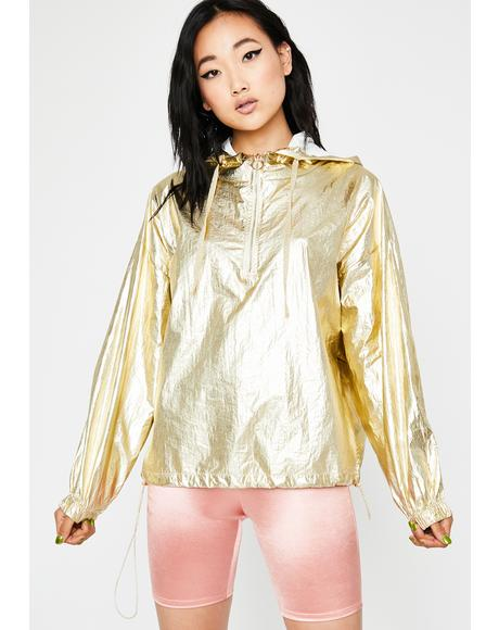 Golden Outerworld Metallic Windbreaker