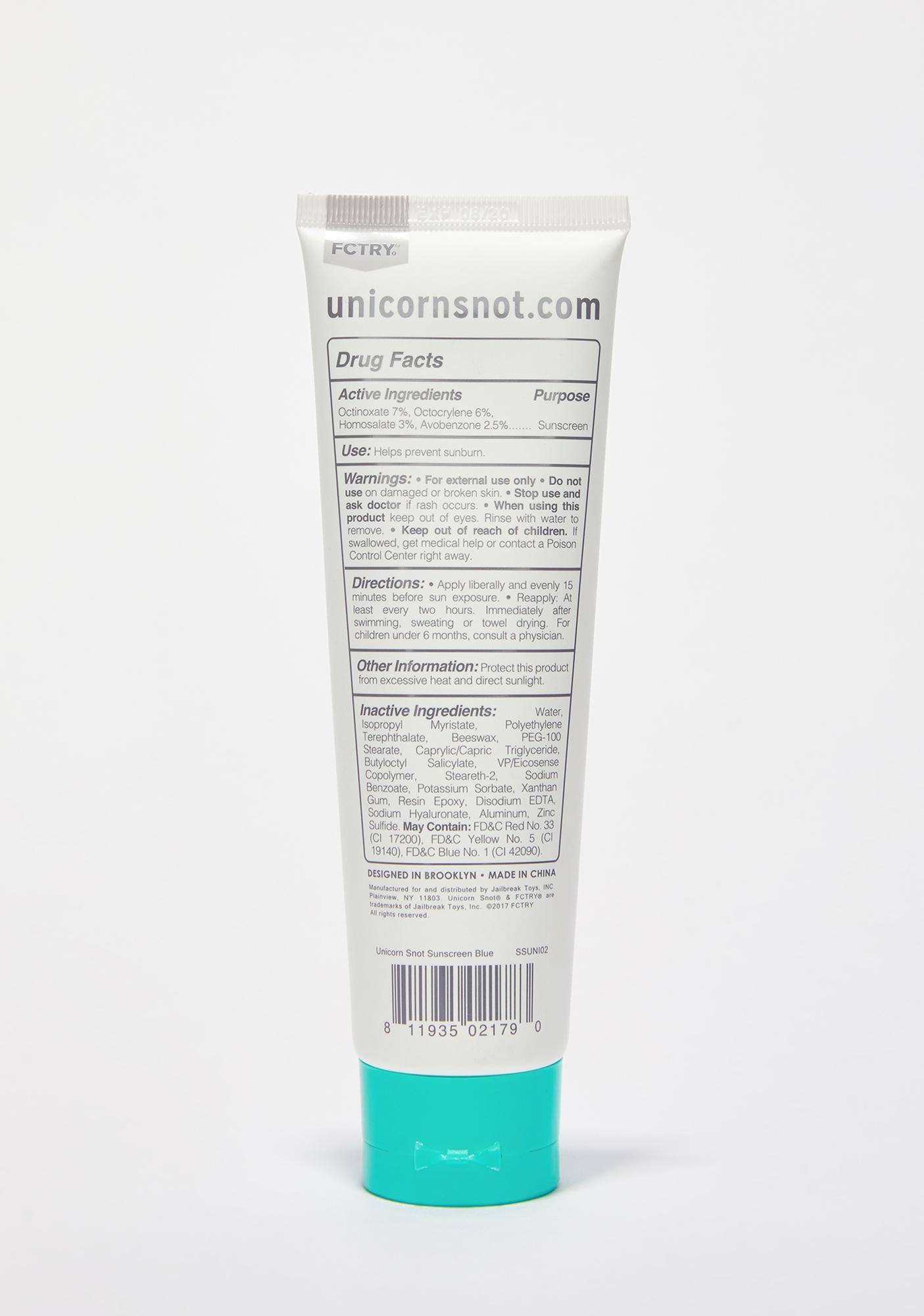 Unicorn Snot Blue Glitter Sunscreen
