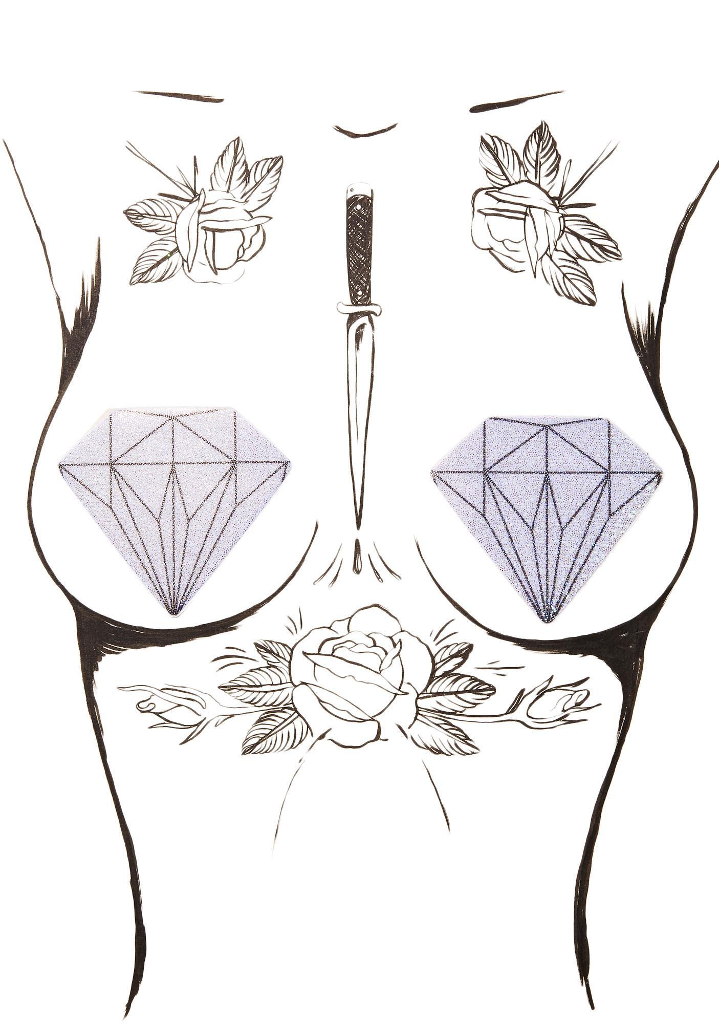 Pastease Silver Glitter Diamond Pasties
