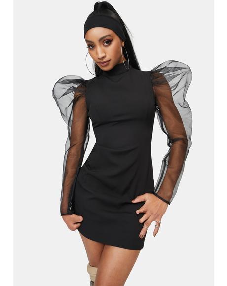 Organza Sleeve Bodycon Dress
