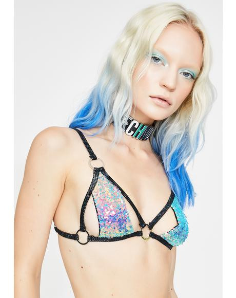 Water Opal Trinity Sequin Bra Top