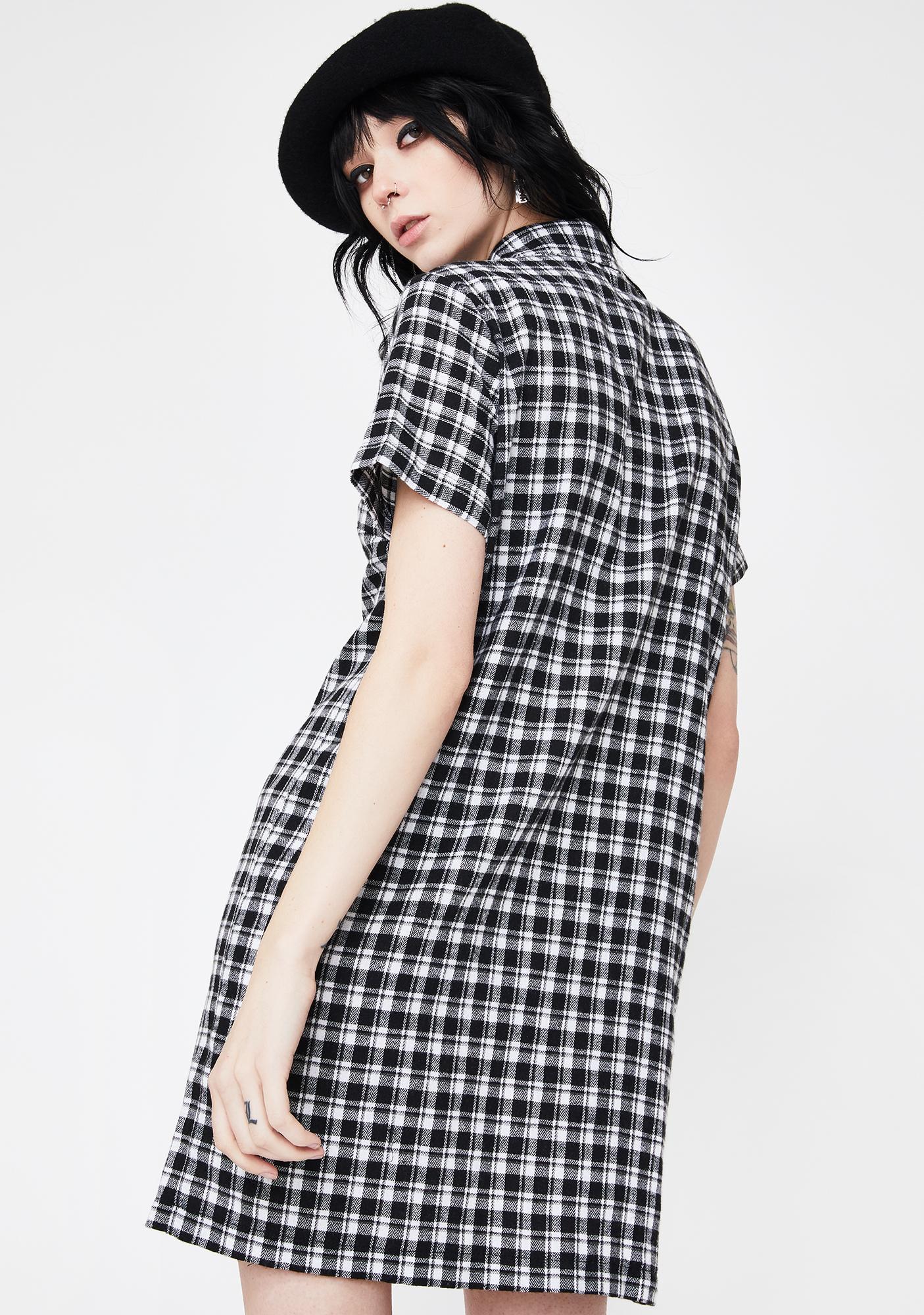 Daisy Street Check Zip Shirt Dress