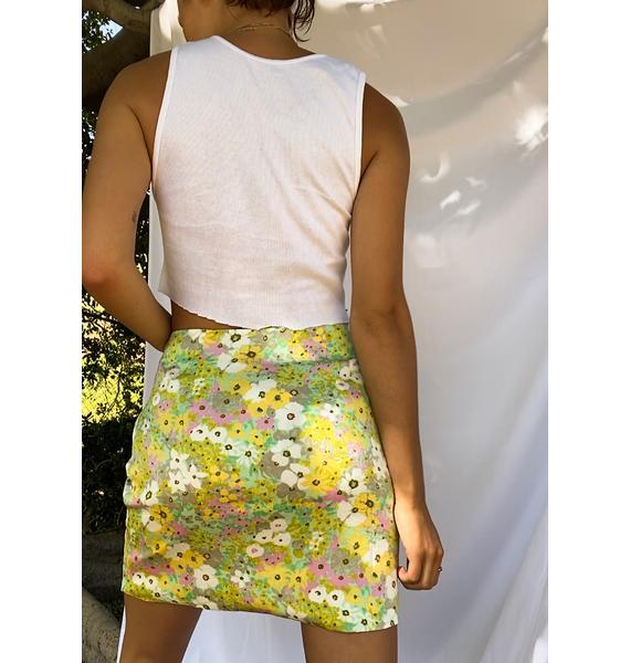 Glamorous Green Pink Floral Mini Skirt