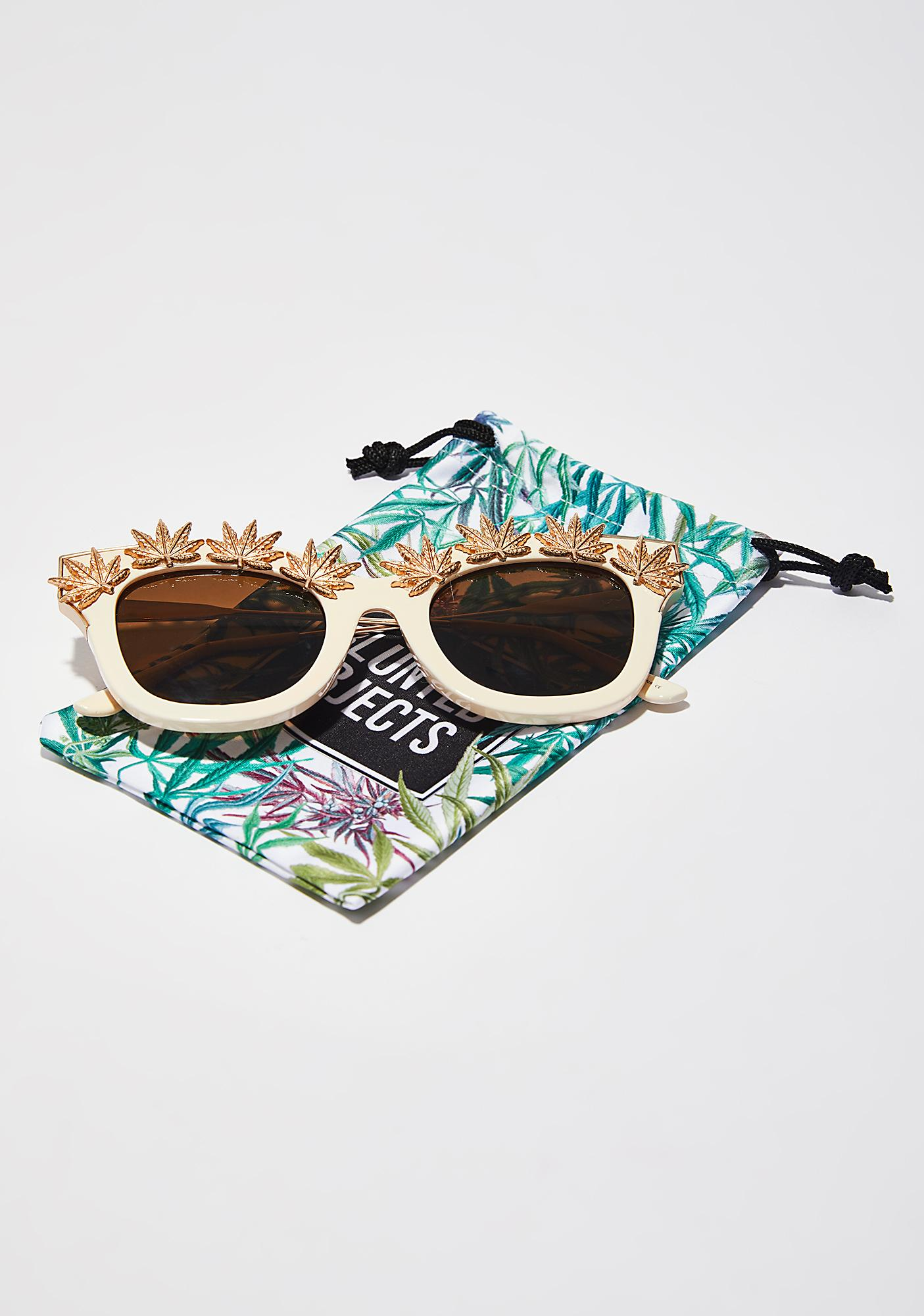 Blunted Objects Weed Leaf Embellished Sunglasses