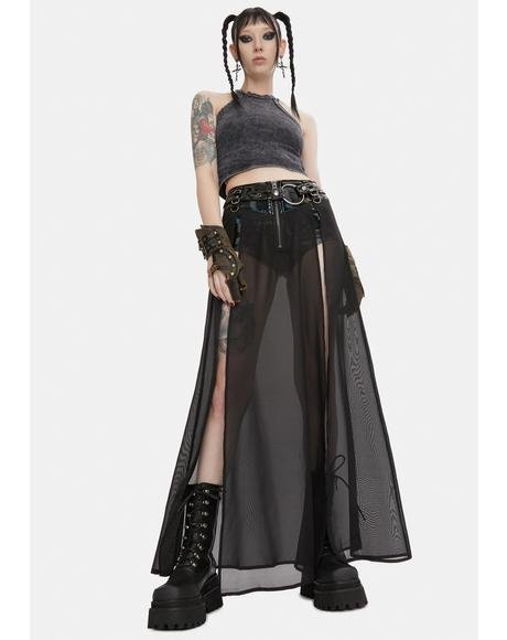 Punk Fake Two Pieces Half Skirt