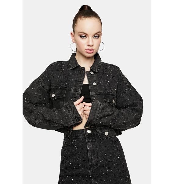 Got A Reputation Cropped Rhinestone Denim Jacket