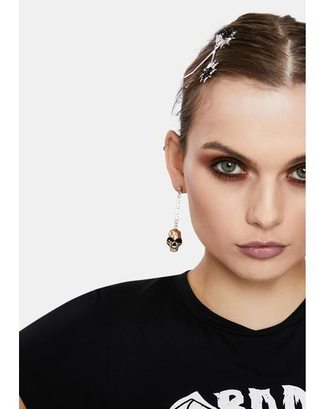 Skull Blingin' Drop Earring