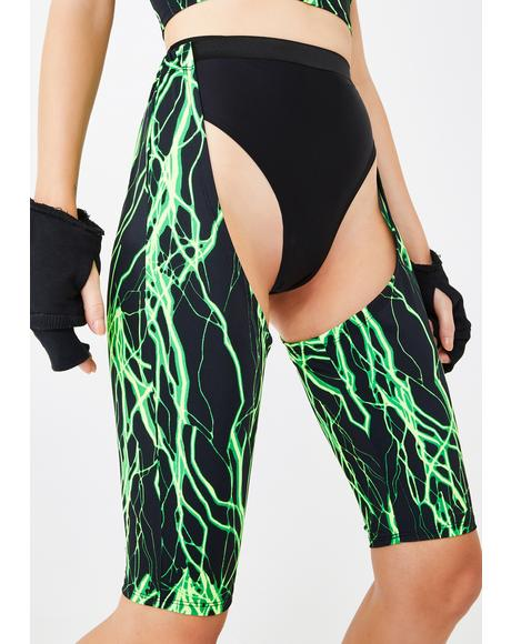 Lime Electric Chaps & Hot Pants Set